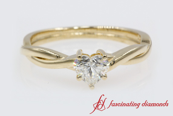 Heart Cut Braided Single Diamond Ring In Yellow Gold-FD8252R