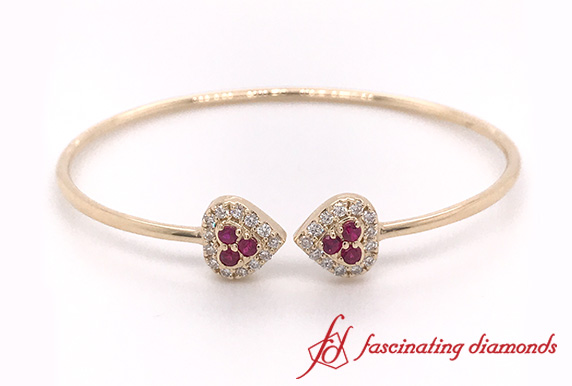 Heart Halo Diamond Open Cuff Bracelet