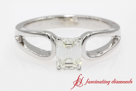 Emerald Cut Loop Solitaire Ring
