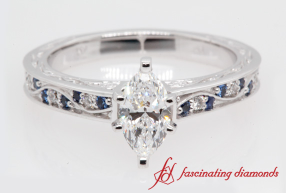 1.05 Ct. Marquise Cut Antique Engagement Ring In White Gold
