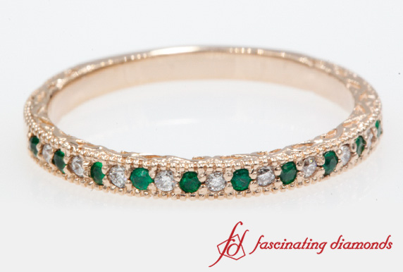 0.20 Ct. Emerald Hand Engraved Band