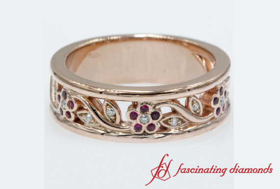 Nature Inspired Red Ruby Wedding Band