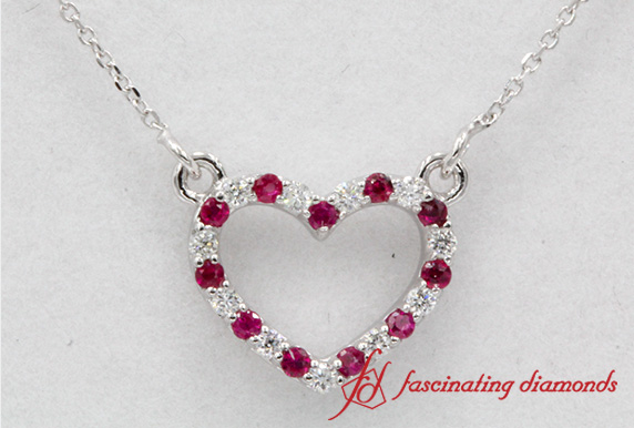 Heart Diamond & Ruby Pendant