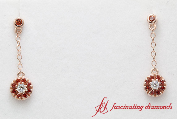Orange Sapphire Halo Drop Hanging Earring In Rose Gold