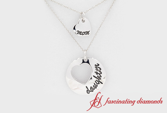 White Gold Mom And Daughter Pendant