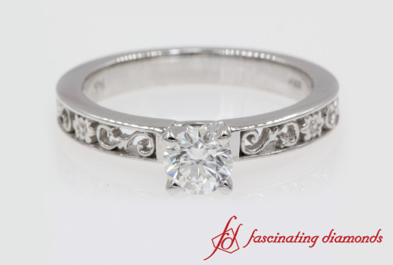 Filigree Round Cut Solitaire Ring