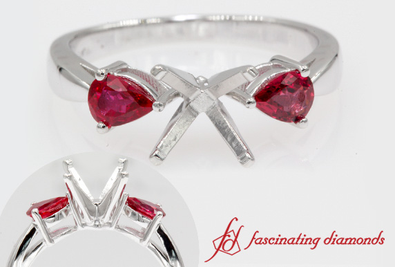 Ruby Tear Drop 3 Stone Ring Setting
