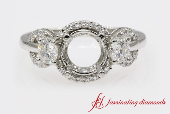 Semi Mount Delicate 3 Stone Halo Ring In Platinum