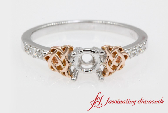 Semi Mount Diamond Celtic Ring In White Gold