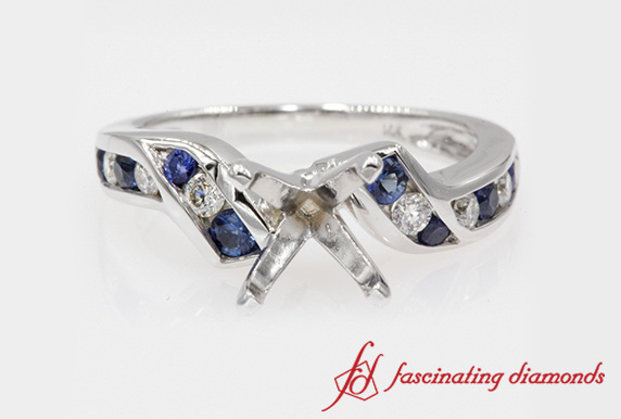 Semi Mount Channel Set Sapphire Ring