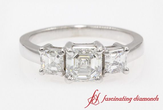 Simple Asscher Cut 3 Stone Ring In White Gold