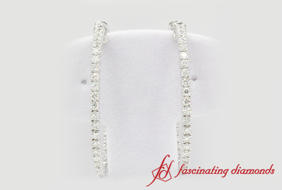Thin In And Out Diamond Hoop Earring In White Gold