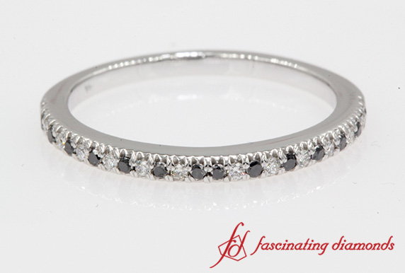 Women Thin Black Diamond Band