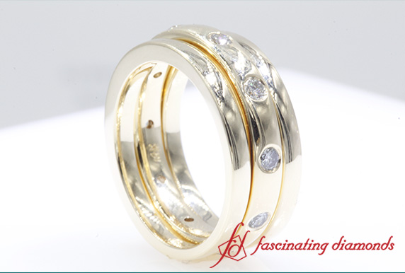 0.5 CT. Trio Stack Station Diamond Band In Yellow Gold