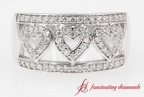 Wide Pave Heart Design Wedding Band