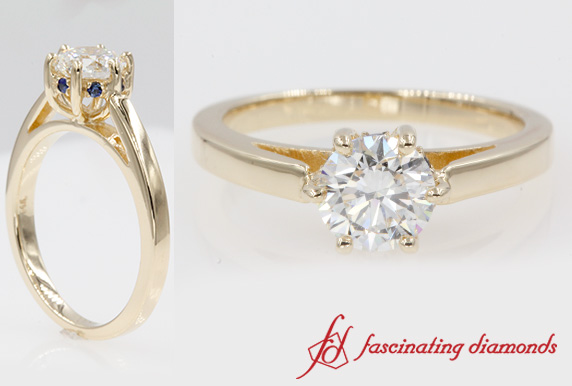 6 Prong Under Halo Diamond Ring