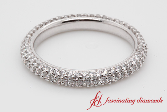 1 Ct. Diamond Micro Pave Eternity Band In White Gold