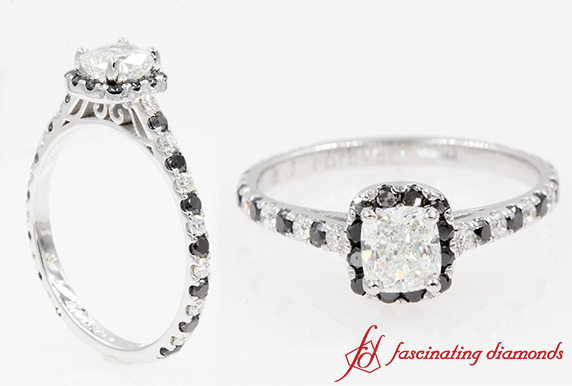 1.28 Ct. French Pave Halo Ring