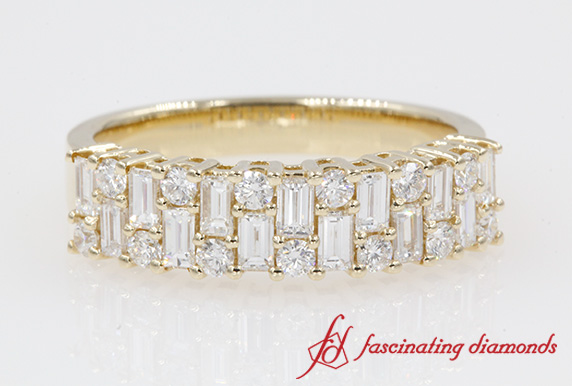 Round & Baguette Wedding Band