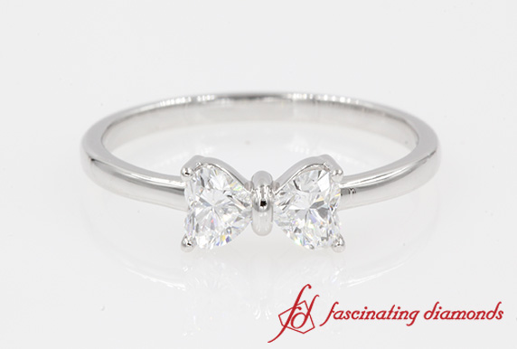 2 Heart Diamond Promise Ring In 18K White Gold-FD8238R