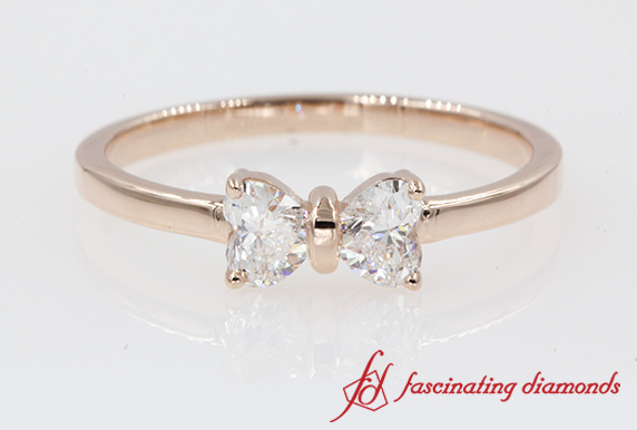 0.5 Ct. 2 Heart Shaped Bow Ring