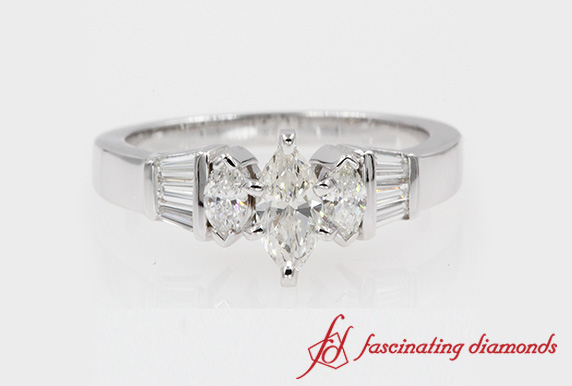 Baguette Bar & Marquise Cut Diamond In White Gold-FDENR1120