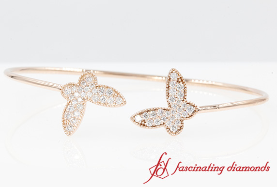Butterfly Diamond Rose Gold Bangle Bracelet-FDOBR70482