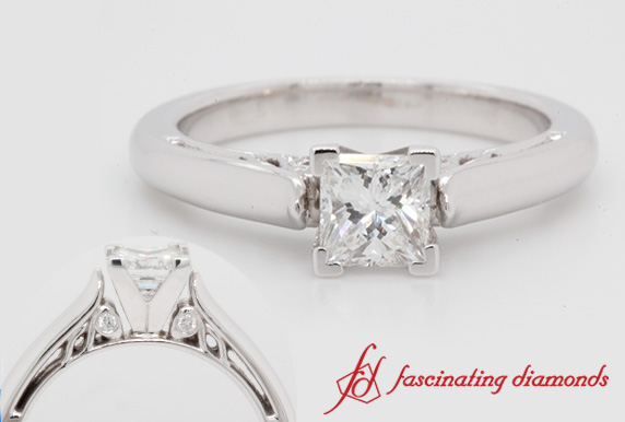 0.76 Ct. Cathedral Princess Cut Ring