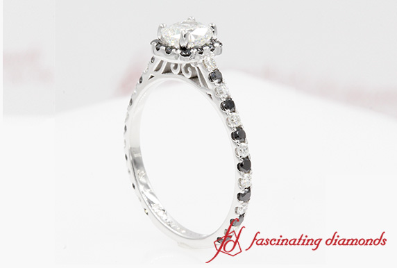 Cushion Cut French Pave Halo Ring