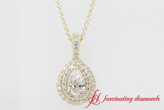 Gold Double Halo Diamond Pendant