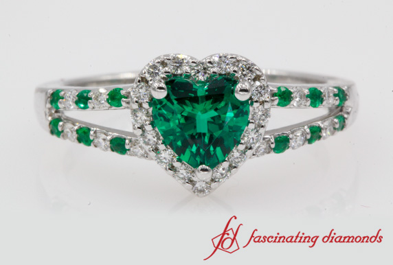 1.15 Ct. Emerald Ring With Heart Halo
