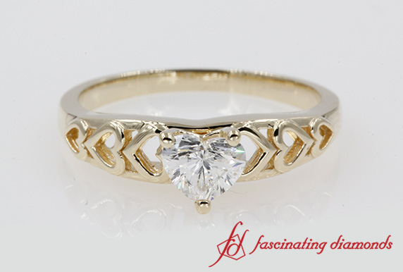 Heart Cut Solitaire Ring In Yellow Gold