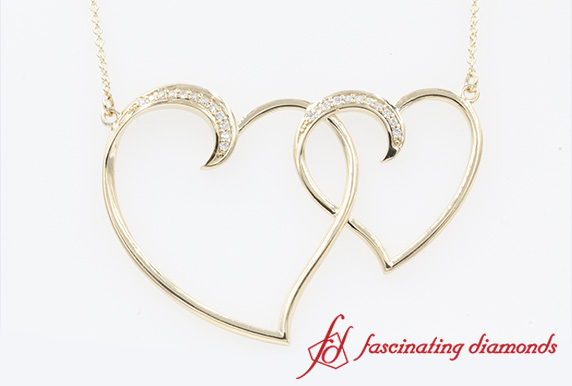 Gold Dual Heart Interlocked Necklace