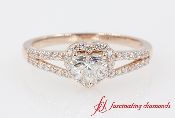 Heart Shaped Engagement Ring In Rose Gold-FD1034SSR