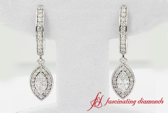 Marquise Cut Diamond Hoop Earring In White Gold-FDEAR1185MQ