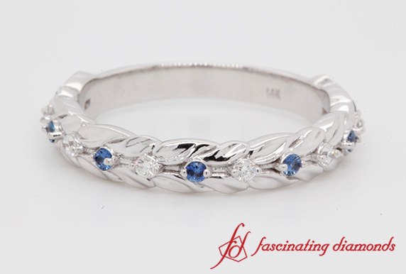 Nature Inspired Wedding Band With Sapphire