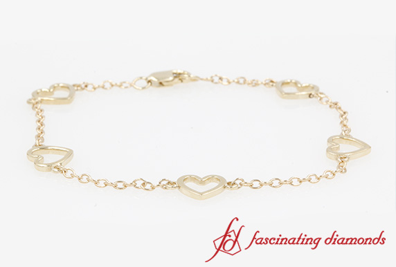 Open Heart Chain Bracelet In Yellow Gold-FDBRC8650