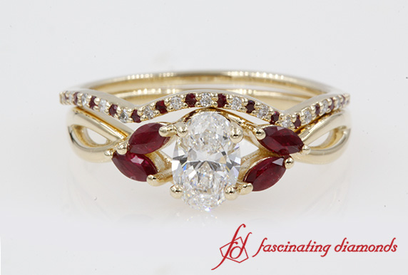 Twisted Diamond Bridal Set With Ruby