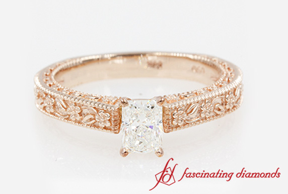 Radiant Cut Solitaire Engagement Ring In Rose Gold-FDENS3540R