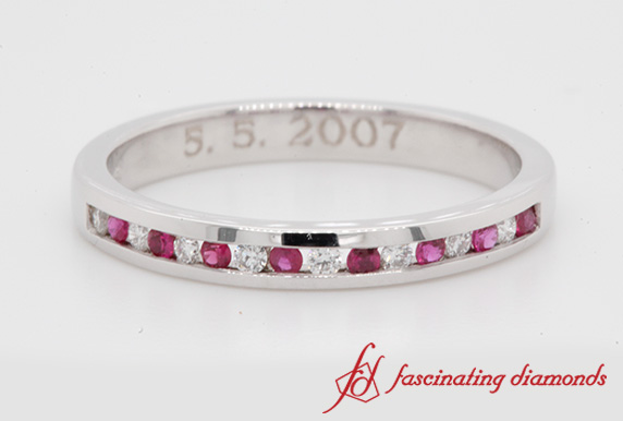 Channel Set Wedding Ruby Band