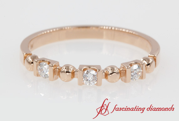 Semi Bezel 3 Stone Bead Band In Rose Gold