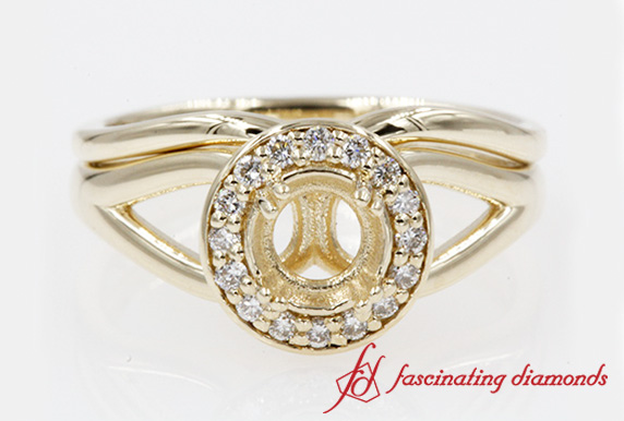 Split Diamond Wedding Set With Halo Setting In 14K Yellow Gold