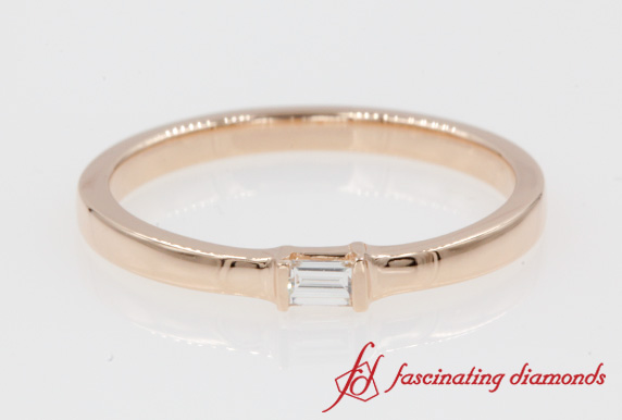 Single Baguette Delicate Wedding Ring In Rose Gold-FD8397R