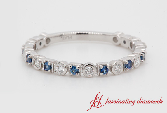 Thin Diamond Anniversary Band With Sapphire