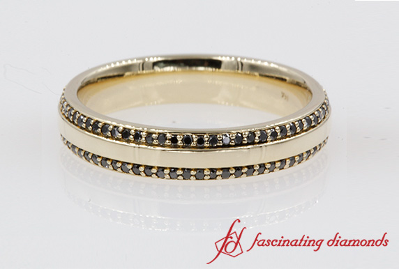 Two Row Mens Black Diamond Band