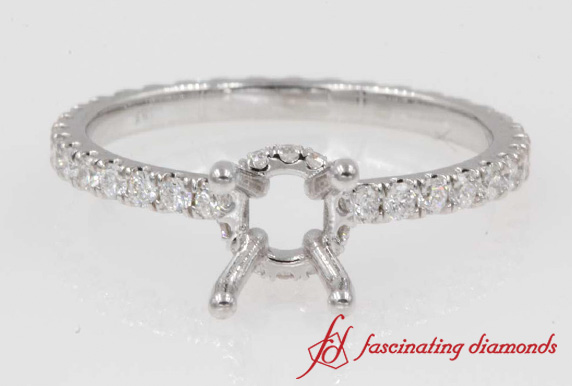 Halo Diamond Eternity Engagement Ring Mounting In 18K White Gold