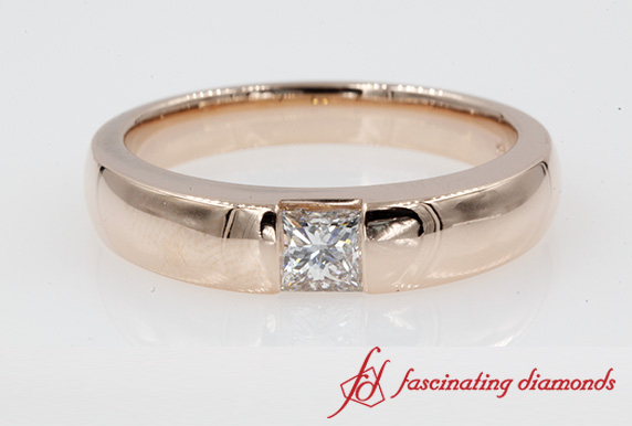 Half Bezel Princess Cut Wedding Ring