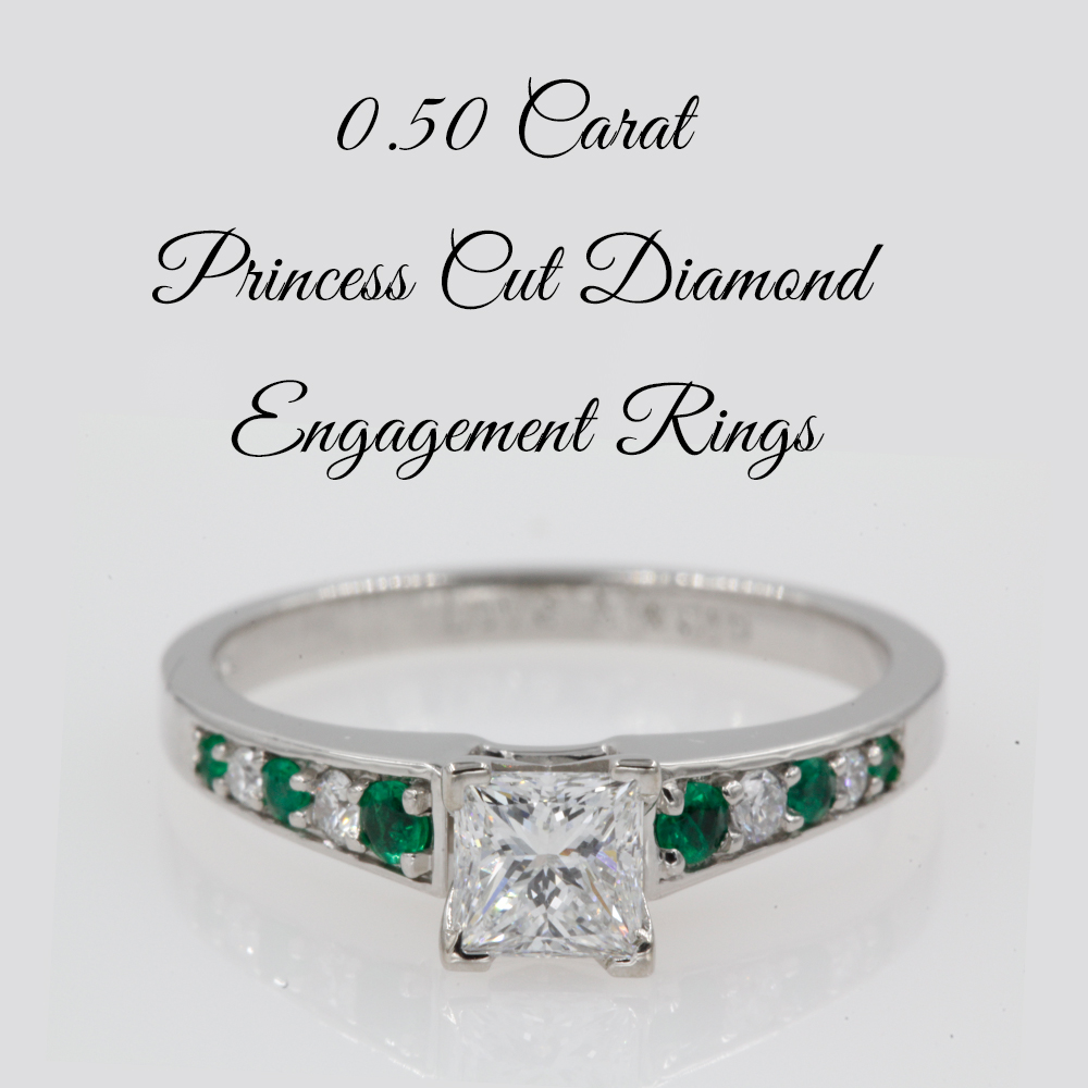 0.50 Carat Princess Cut Diamond Engagement Rings
