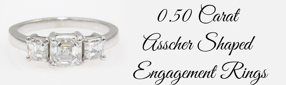 0.50 Carat Asscher Shaped Engagement Rings