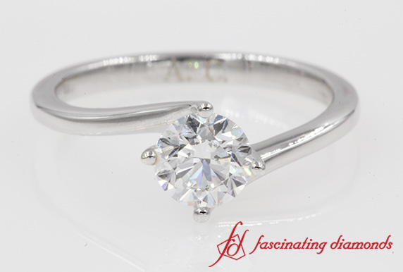 0.70 Ct.Swirl Round Diamond Ring